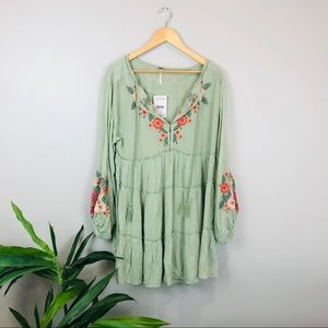 NWT Free People green embroidered floral dress XS